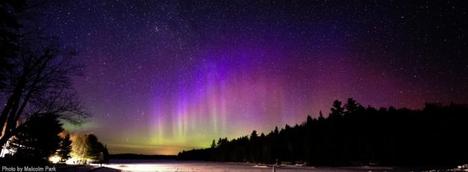 PanSTARRS, Aurora & Andromeda at Mew Lake in 2012, by Malcolm Park, RASC Member