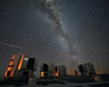 Meteor above ESO's VLT, Chile